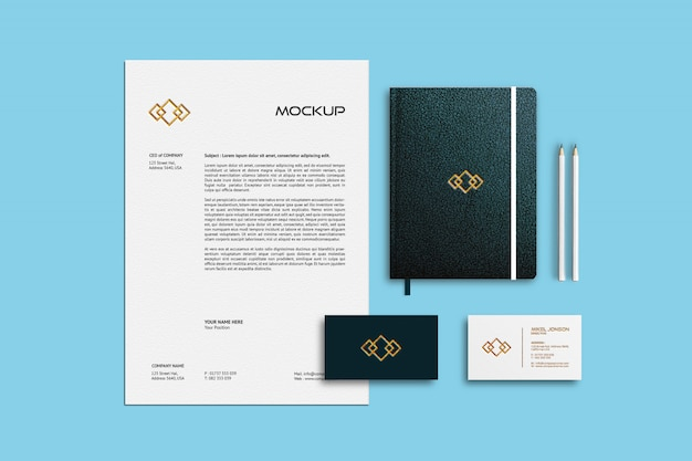Business card, letterhead and notebook mockup