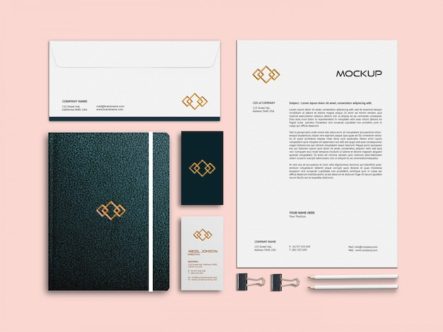 Business card, letterhead and notebook stationery mockup