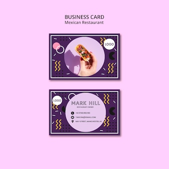 Business card mexican food restaurant