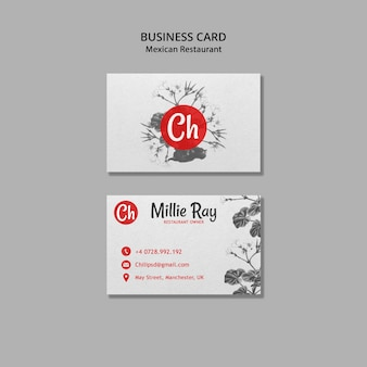 Business card for mexican restaurant
