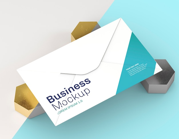 Business card mock-up on blue and white background