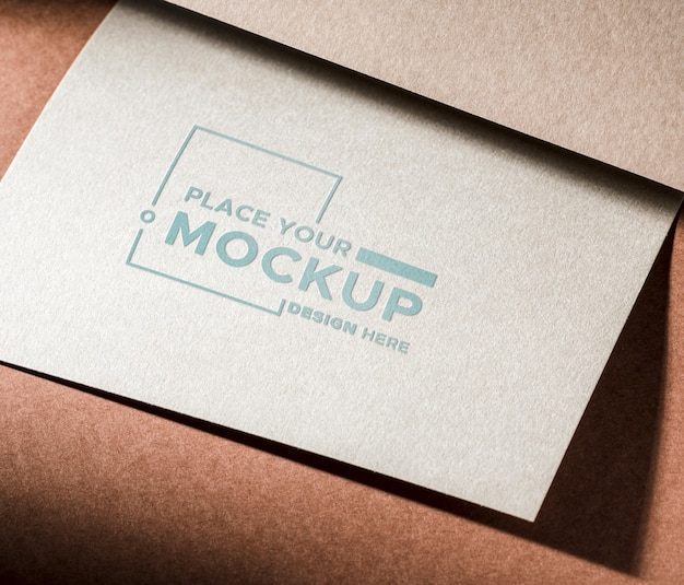 Business card mock-up on brown background