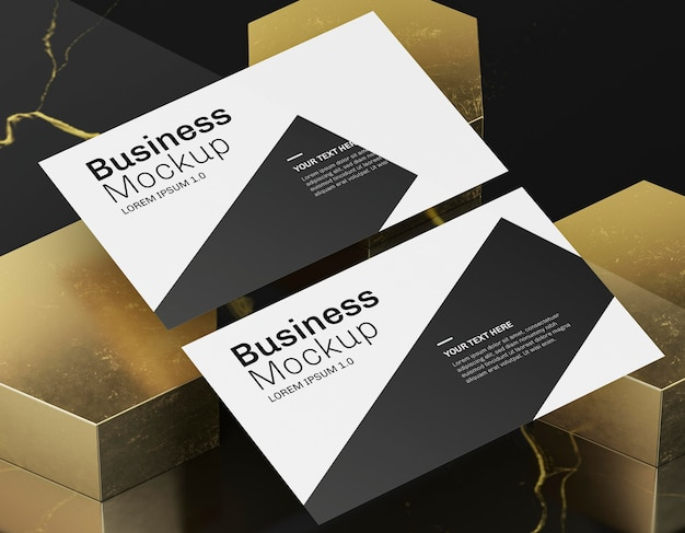 Business card mock-up on golden background