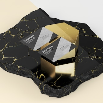 Business card mock-up high view luxury marble
