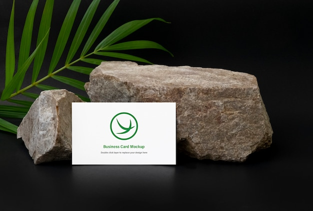 Business card mock up on stone with plant