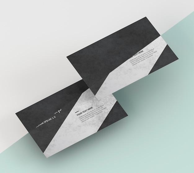 黒とグレーの色調の名刺モックアップ Premium Psd