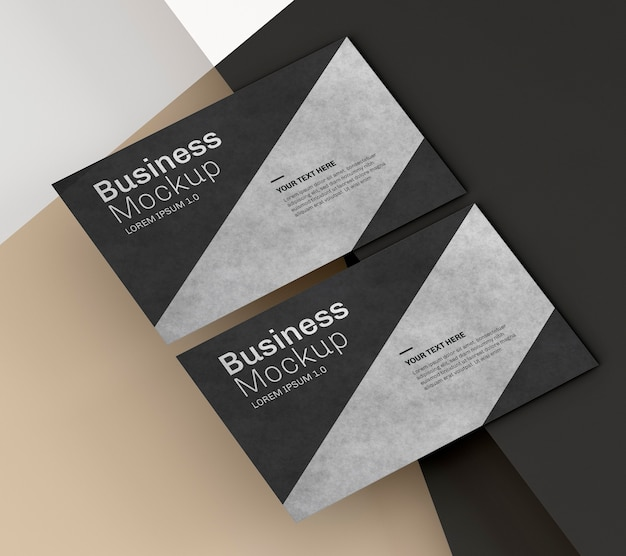 Business card mock-up with black and silver design