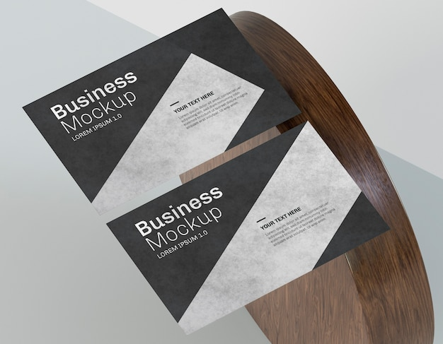 Business card mock-up and wooden shape