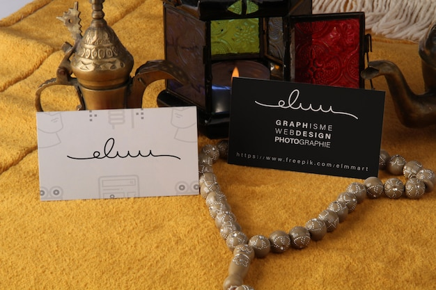 Business card mockup arabic