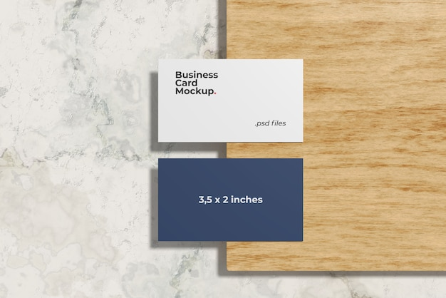 Business card mockup on the birch wood