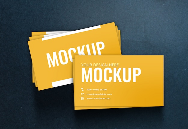 Business card mockup black paper texture