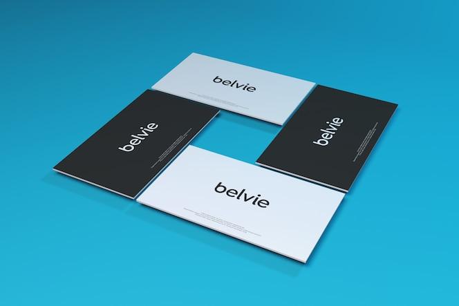 Business card mockup on blue background