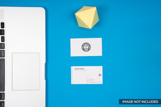 Business card mockup in blue