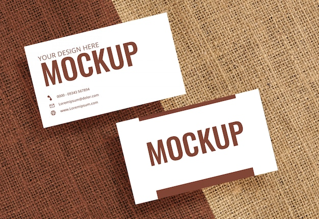 Business card mockup brown texture