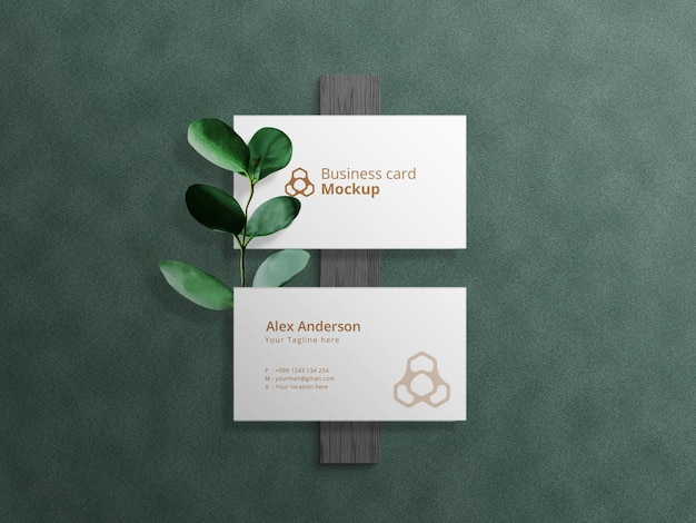 Business card mockup on dark background