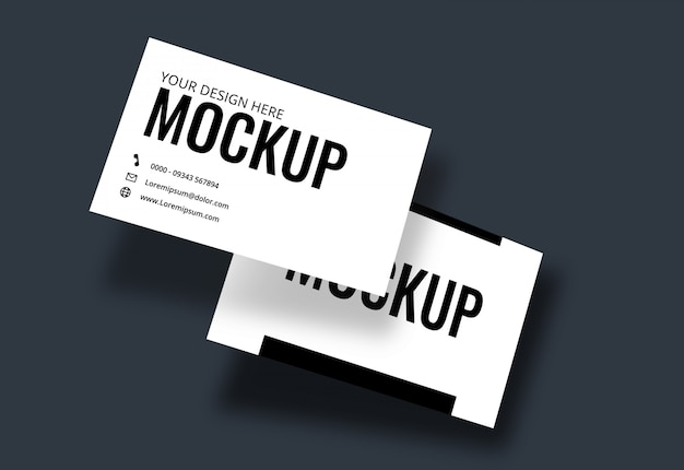 Business card mockup dark blue