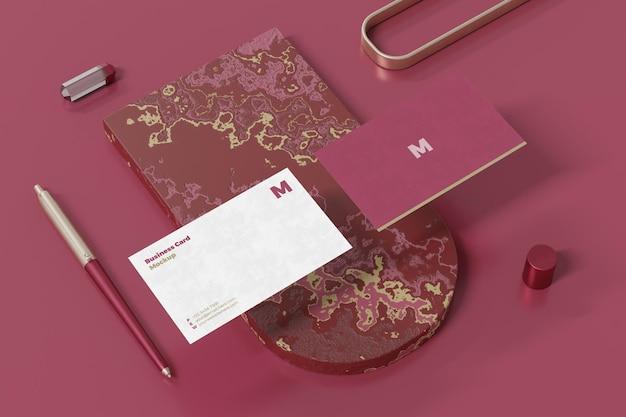 Business card mockup design in 3d rendering