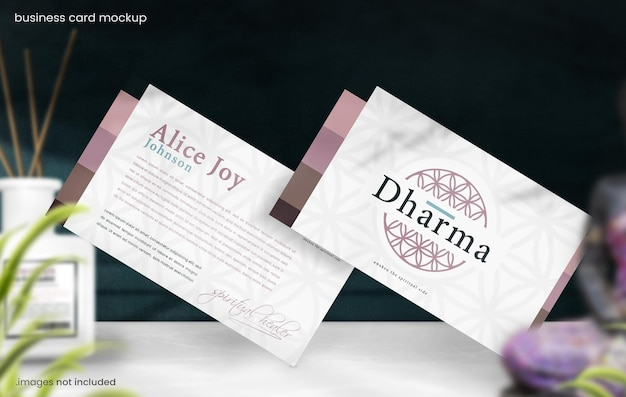 Business card mockup for eastern spiritual branding concept
