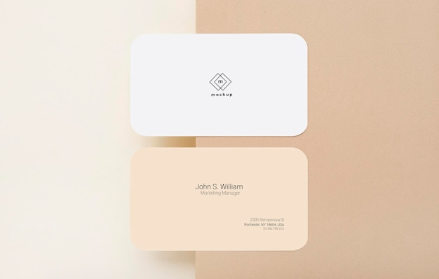 Business card mockup, front and back side, flat lay