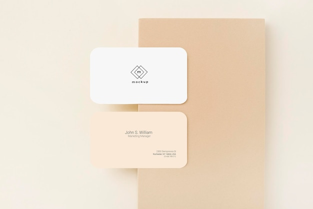 Business card mockup, front and back side, top view