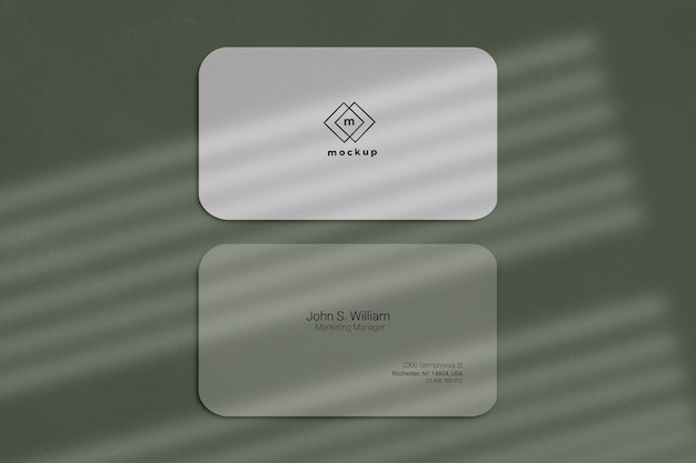 Business card mockup, front and back side with window shadows effect