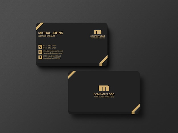 Business card mockup front view stack card
