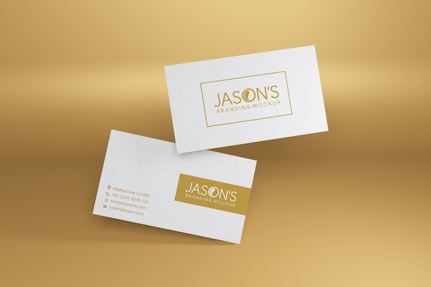 Business card mockup on gold theme