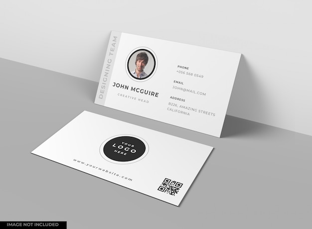 Business card mockup on grey table