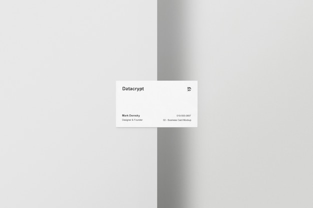 Business card mockup half table