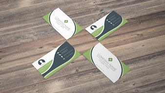Business card mockup in eco style
