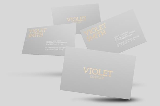 Макет визитки серого цвета с видом спереди и сзади