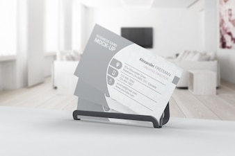 Business card mockup in interior of room