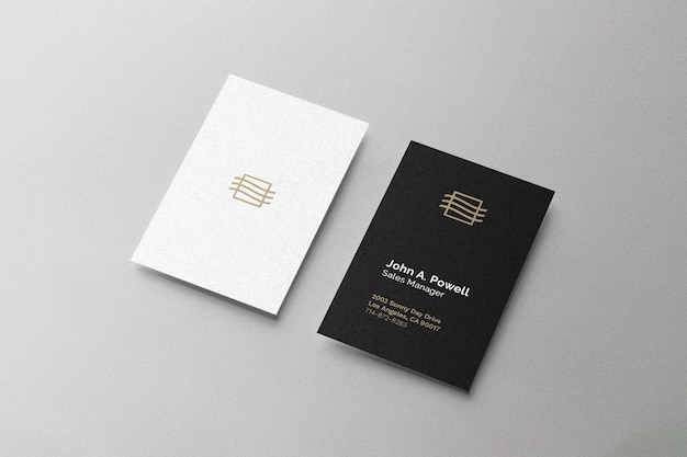 Business card mockup laying on surface