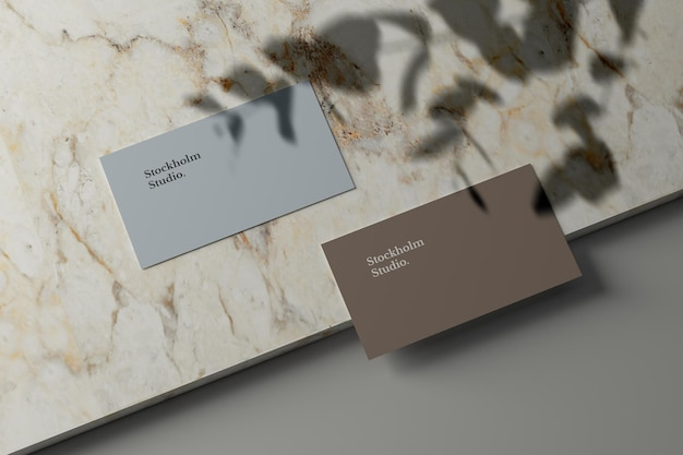 Business card mockup on marble stone