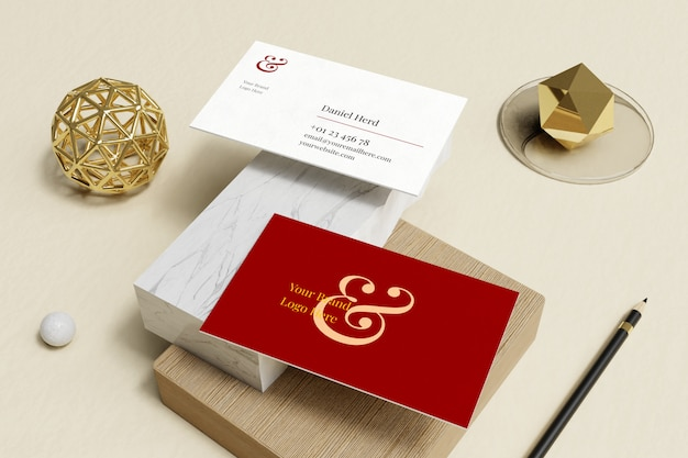 Business card mockup in marble and wooden box