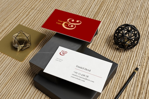 Business card mockup in marble and wooden floor