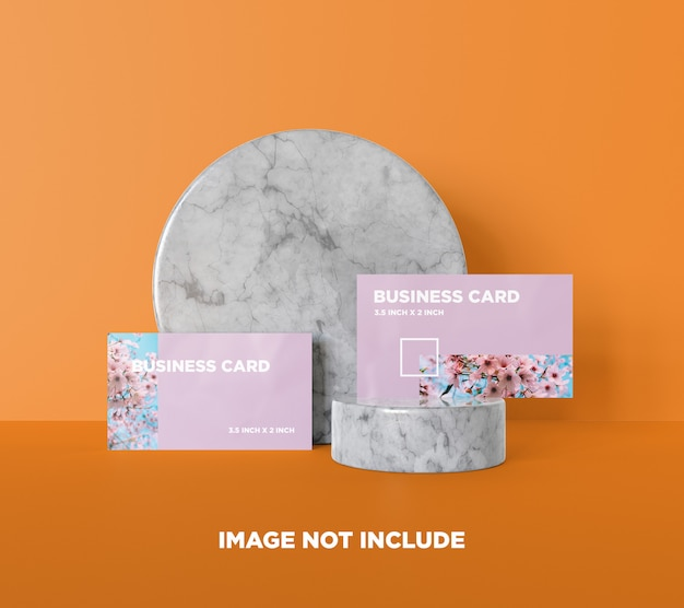 Business card mockup on marble