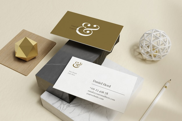Business card mockup in marble