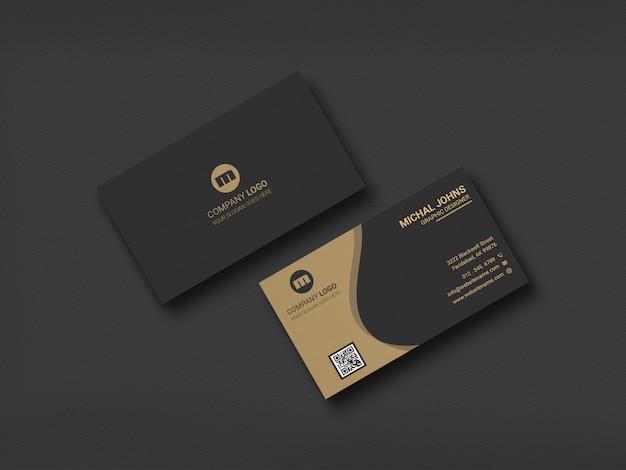 Макет визитной карточки минимальный дизайн в черном