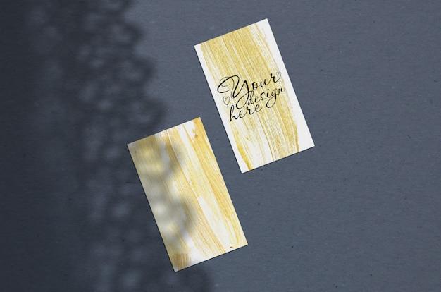 Business card mockup. natural overlay curtains shadows