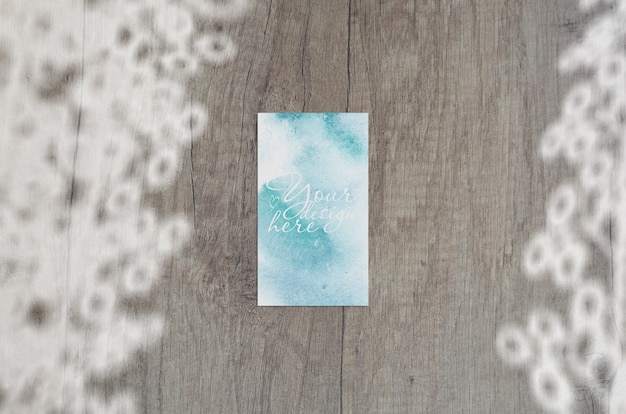 Business card mockup. natural overlay curtains