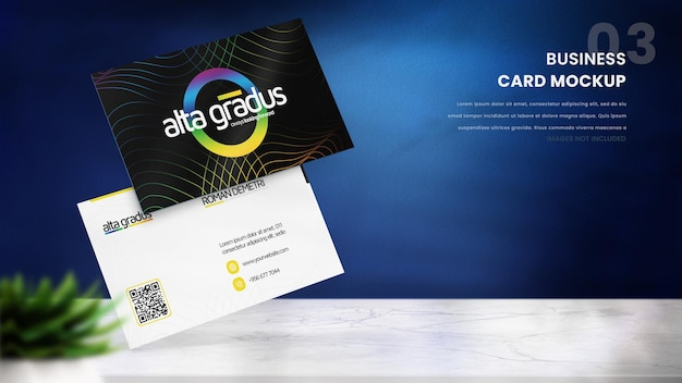 Макет визитной карточки на синем фоне