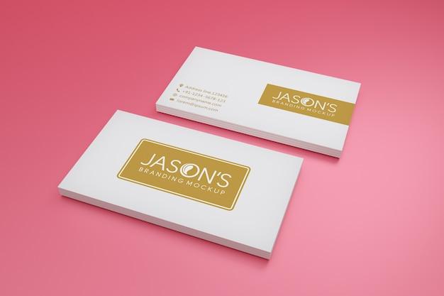 Макет визитки на мягком цветном фоне