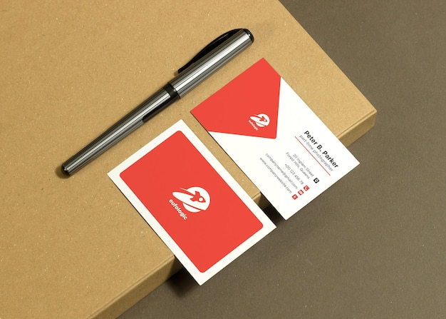 Business card mockup on paper background