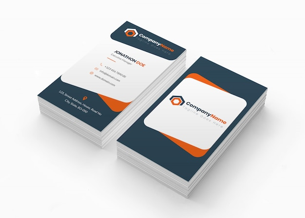 Business card mockup perspective view