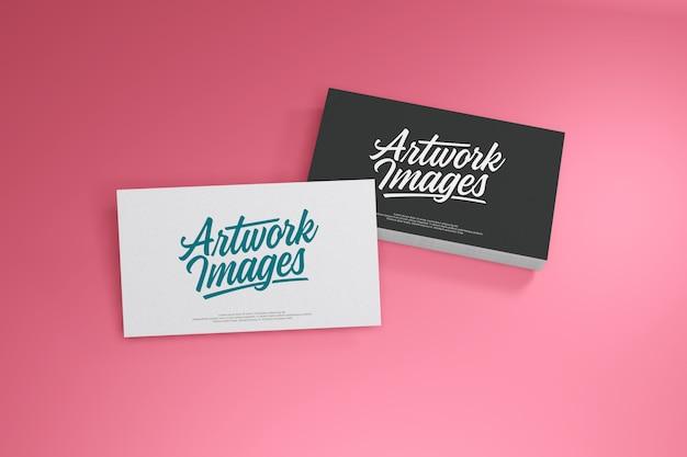 Business card mockup on pink background