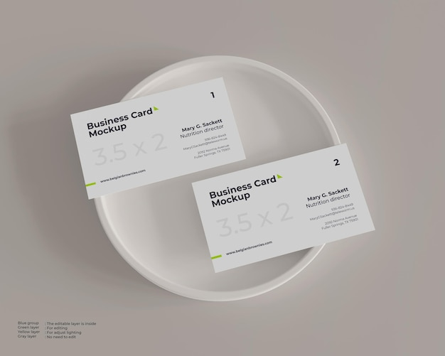 Business card mockup on a plate