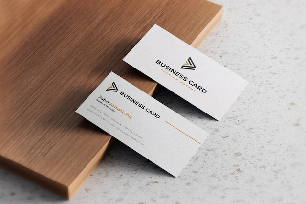 Business card mockup realistic white textured