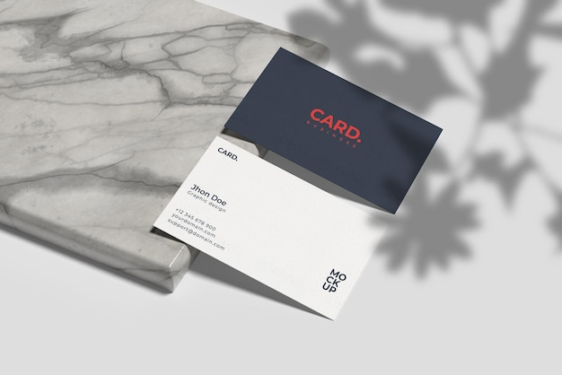 Business card mockup on side marble with shadow overlay