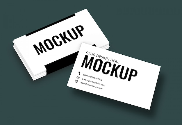 Business card mockup teal dark background